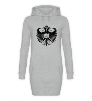 Kölner Wappen mit Adler in Schwarz auf Hoodiekleid - Front - Sport-Grau-Meliert (Heather-Grey)