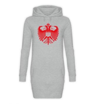 Kölner Wappen mit Adler in Rot auf Hoodiekleid - Front - Sport-Grau-Meliert (Heather-Grey)