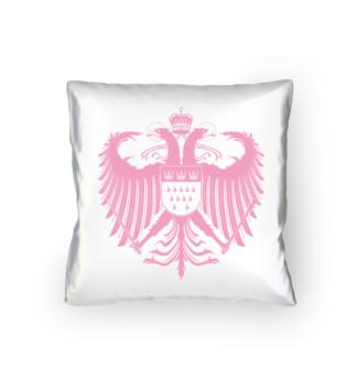 Kölner Wappen mit Adler in Rosa auf weißem Kissen 40 x 40 cm - satiniert