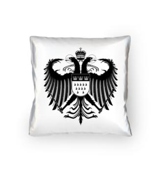 Kölner Wappen mit Adler in Schwarz auf weißem Kissen 40 x 40 cm - satiniert