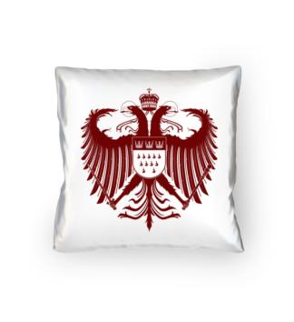 Kölner Wappen mit Adler in Dunkel-Rot auf weißem Kissen 40 x 40 cm - satiniert
