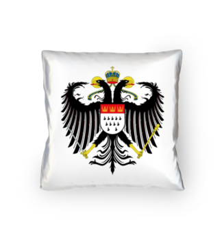 Kölner Wappen mit Adler auf weißem Kissen 40 x 40 cm - satiniert