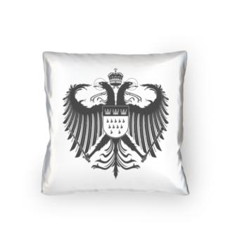 Kölner Wappen mit Adler in Dunkel-Grau auf weißem Kissen 40 x 40 cm - satiniert