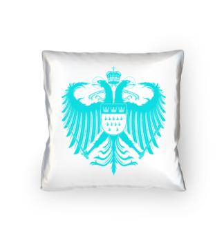 Kölner Wappen mit Adler in Türkis auf weißem Kissen 40 x 40 cm - satiniert