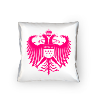 Kölner Wappen mit Adler in Pink auf weißem Kissen 40 x 40 cm - satiniert