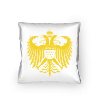 Kölner Wappen mit Adler in Gelb auf weißem Kissen 40 x 40 cm - satiniert