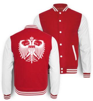 Kölner Farben College-Sweatjacke auf Rückseite mit großem Kölner Wappen in Weiß bedruckt.
