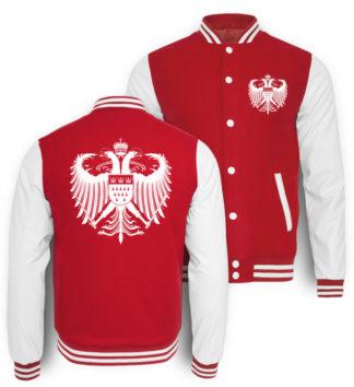 Kölner Farben College-Sweatjacke von vorne und hinten mit großem Kölner Wappen in Weiß bedruckt.