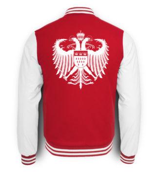 Bild zeigt Rückseite der rot-weißen College-Sweatjacke mit großem weißen Kölner Wappen mittig auf oberer Hälfte (Kreuz) gedruckt.