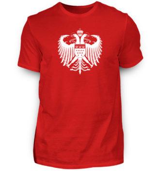 Kölner Farben Basic Herren T-Shirt in Rot mit großem Wappen von Köln